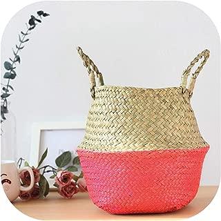 TOKYO HOT Xs,S,M,L Seagrass Foldable Wickerwork Basket Rattan Hanging Flower Pot Planter Woven Dirty Laundry Hamper Storage Home Decor,Pink,S (22Cmx20Cm)