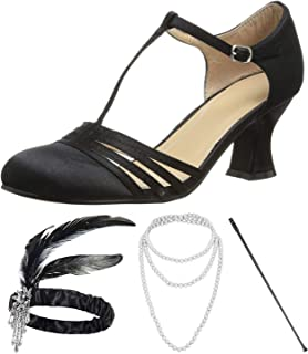 1920s Shoes for Women, Lucille Dress Salsa Dance Pump,Flapper Headband,Cigarette Holder for Great Gatsby Costume Accessories