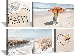 Beach Theme Canvas Wall Art: Coastal Dunes with Heart & Umbrella Picture Print Painting Set(12''x12''x2pcs+24''x12''x2pcs)