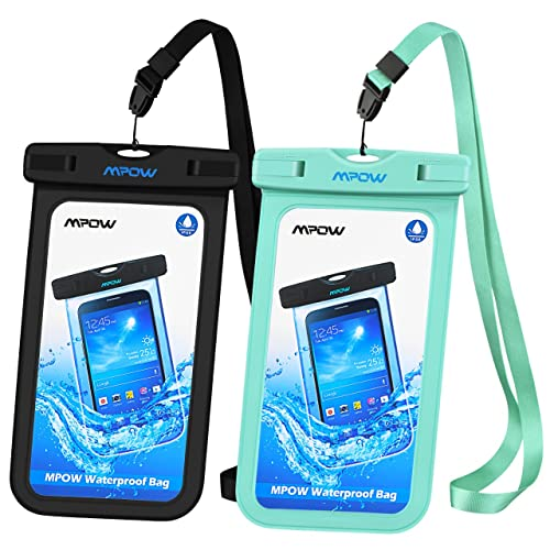 Mpow [2 Pezzi] Custodia Impermeabile Smartphone, [Garanzia a Vita] IPX8 Sacchetto Impermeabile, Busta Impermeabile Smartphone Waterproof per iPhone/Android (Nero + Verde)