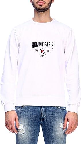DANIELE ALESSANDRINI Luxury mode Homme M6957E77039022 Blanc Sweatshirt   Printemps été 19