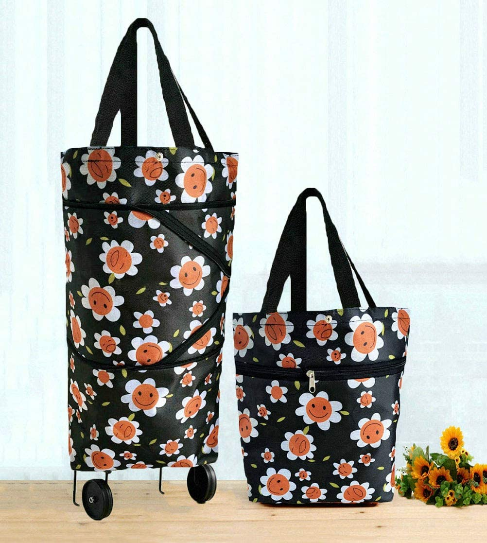 Cocobuy Collapsible Trolley Bags Folding Shopping Bag with Wheels Foldable Shopping Cart Reusable Shopping Bags Grocery Bags Shopping Trolley Bag on Wheels Flowers Print