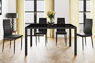 HOGAR24 Conjunto Mesa 140cm x 80cm x 75cm + 4 SILLAS. Color Negro. Salon Comedor Cocina