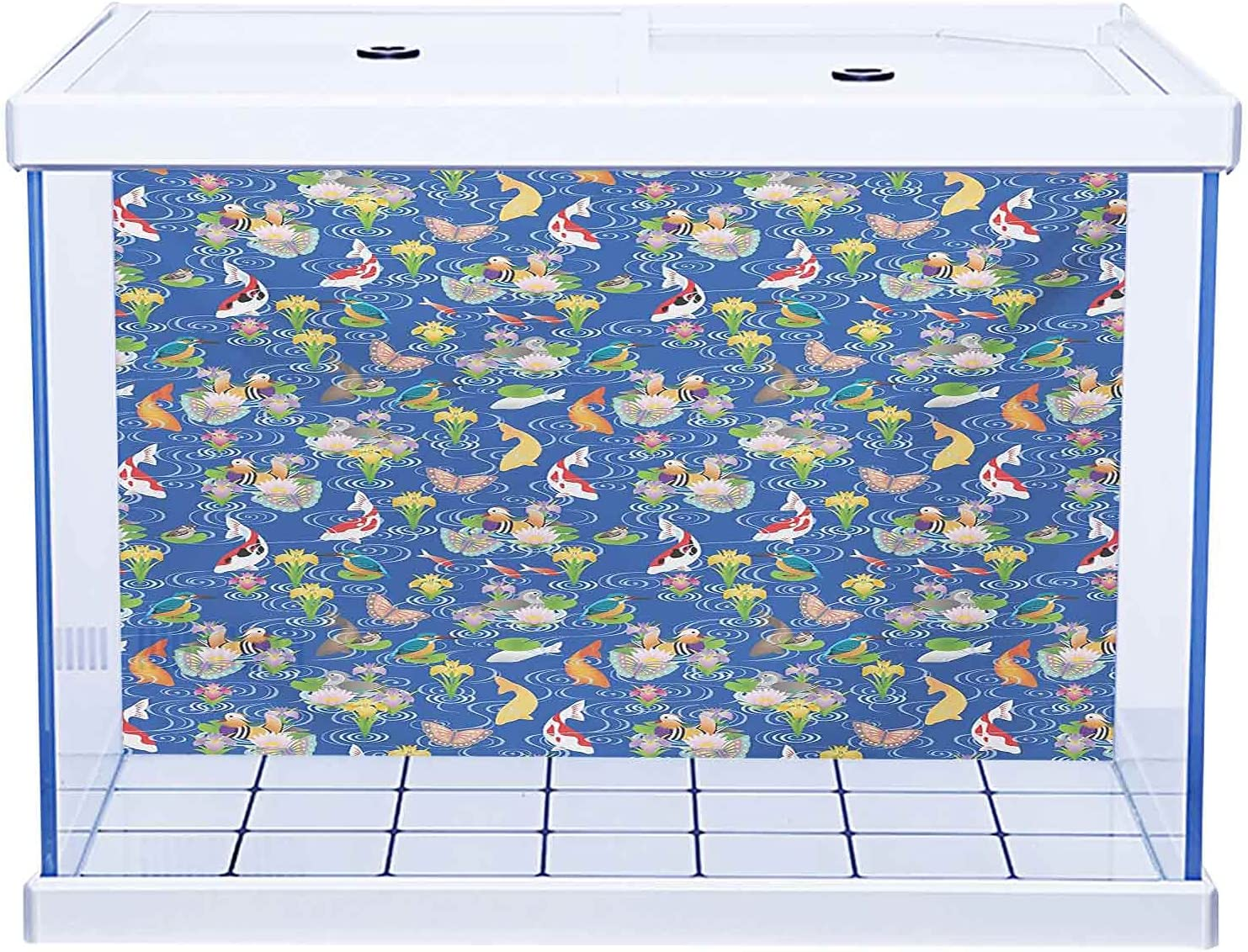 Aquarium Sticker 3D Special price One Side Fish and Bas Tank Blue Ivory Wicker shipfree
