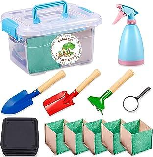 KODATEK Kids Gardening Set, for Real Planting or Sand Gardening 16PCS Contain: Sprayer, Shovel, Spade, Rake, Magnifier, Tr...