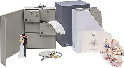 Wedding Keepsake Box-Engagement Keepsakes Box-Personalized Memory Box-Registry Gift-Bridal Keepsake Organizer with Labels - Handmade - Acid-Free - Customizable-Wedding Shower Gift (Gray)