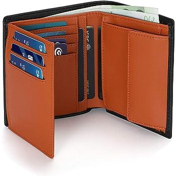 Vemingo Portefeuille Homme Cuir RFID Blocage Porte-Monnaie|Porte-Carte pour Carte d'Identité/Carte Grise/Cartes de Crédit,avec Grande Poche à Monnaie,2Compartiments à Billets,Noir+Orange