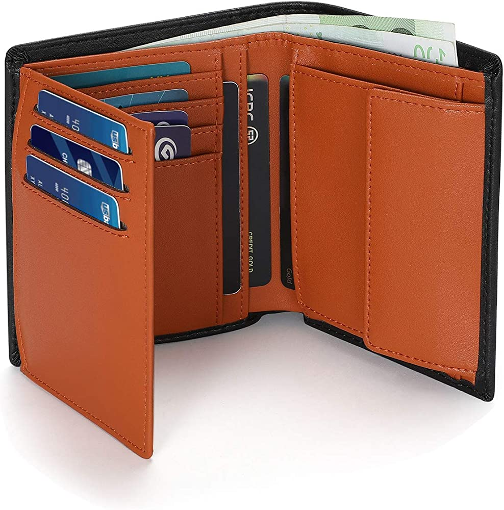 Vemingo, portafoglio da uomo, porta carte di credito, protezione rfid, verticale, in vera pelle XB-080
