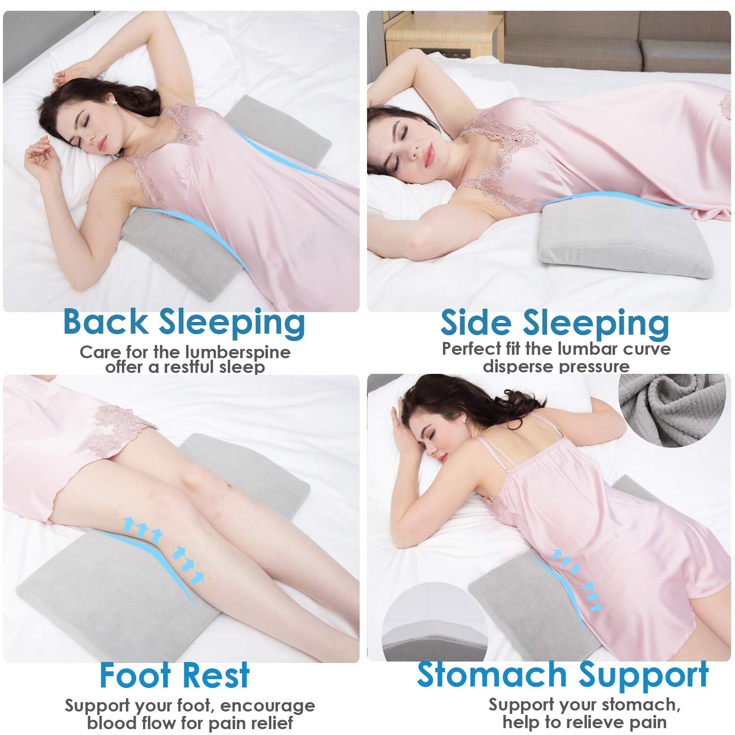 Amazon.com: Lumbar Pillow for Sleeping Back Pain - Soft Memory Foam  Sleeping Pillow for Lower Back Pain, Orthopedic Bed Cushion for Back & Side  Sleepers, Lumbar Support Cushion for Leg, Knee &