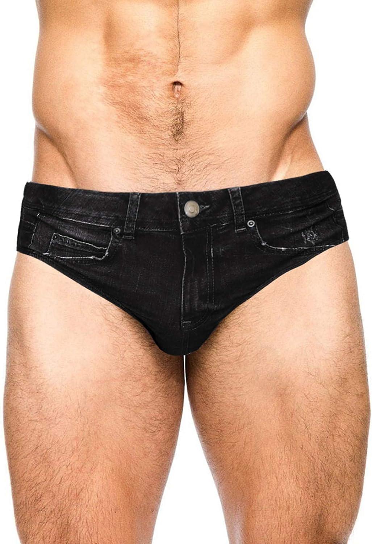 PJ PAUL JONES Men's Swim Brief Denim Print Swim Trunks Drawstring Waist Swimsuit Bikini Briefs |