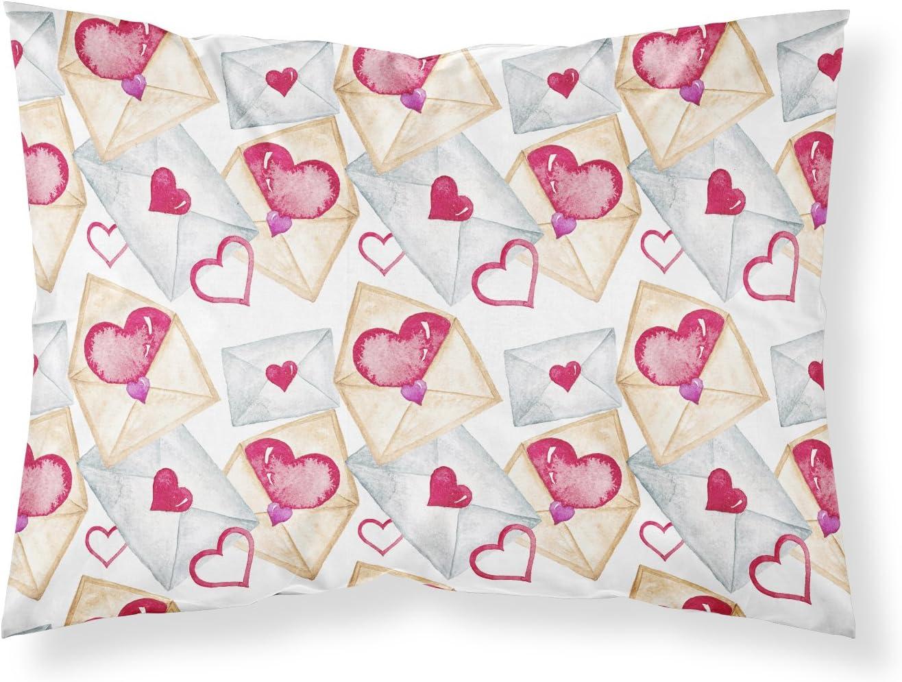 Caroline's Treasures BB7569PILLOWCASE Watercolor Love Letters Fabric Standard Pillowcase, Standard, Multicolor
