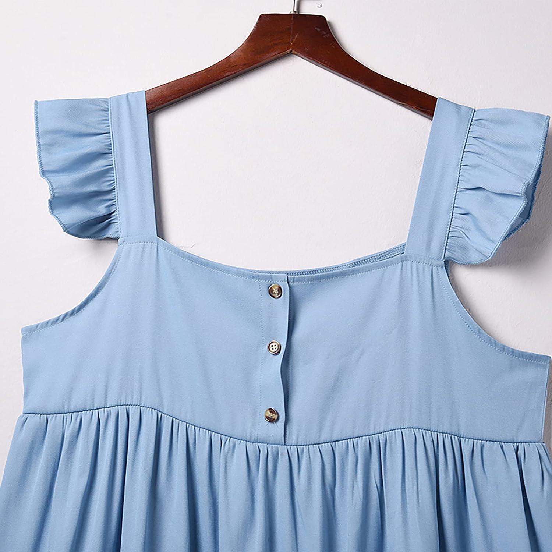 EZ Tuxedo Women's Bule Denim Dress Ruffle Cap Sleeves Backless Midi Dress