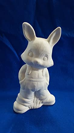 Easter Bunny Rabbit Figurine wearing overalls unpainted ceramic bisque ready to be painted