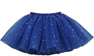 Girl's 3 Layers Sequin Ballet Skirt with Sparkling Stars Dress-up Tutu