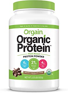Orgain Organic Plant Based Protein Powder, Creamy Chocolate Fudge - Vegan, Low Net Carbs, Non Dairy, Gluten Free, Lactose ...