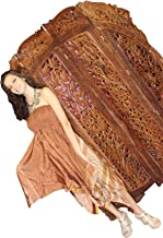 Mogul Interior Vintage Lotus Teak Screen Decorative Wooden Room Divider 4 Panels Hand-Carved Folding Arched Screen