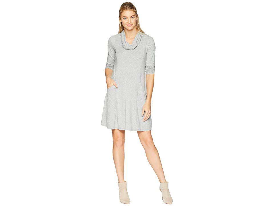 Mod-o-doc Cotton Modal Spandex Jersey Princess Seamed Cowl Neck Dress (Smoke Heather) Women