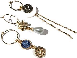 Orecchini NEVE mini cerchi intercambiabili fiocco d'oro ottone dorato resina oro fino 24K regali personalizzati regalo di ...
