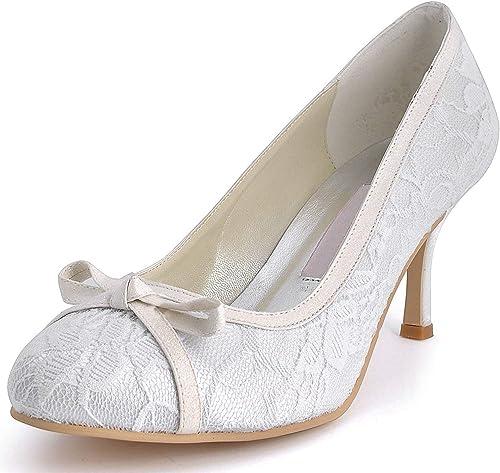 Qiusa femmes femmes femmes MZ569 Bout Rond Talon Haut Noeud de Dentelle Chaussures de mariée Mariage Pompe (Couleuré   Ivory-7.5cm Heel, Taille   8 UK) 4fd