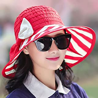 AINIYF Women's Collapsible Sun Hat, Summer Leisure Outdoor Beach Cap Sun Protection UV Protection Hat (Color : Red)