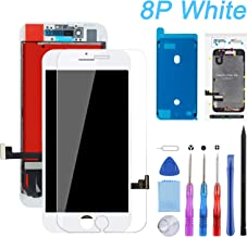 Screen Replacement Compatible for iPhone 8 Plus White 5.5 Inch LCD 3D Touch Screen Digitizer Frame Assembly with Free Repair Tool Kits + Free Screen Protector