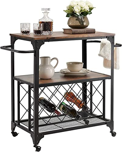 """high quality O&K FURNITUREIndustrial Rolling Bar Serving Cart with Wine Rack, 30""""W x 18.1"""" D Kitchen Carts new arrival with Wheels and outlet online sale Handle, Rustic Brown online"""