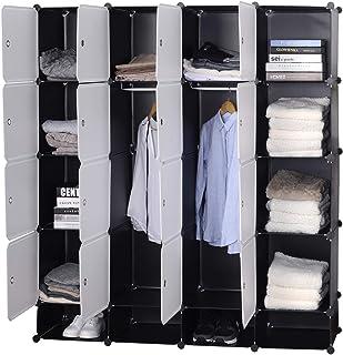 WOLTU SR0090sw Armoire plastique chambre faite de modules avec 2 tringle à vêtements pour le stockage de vêtements, access...