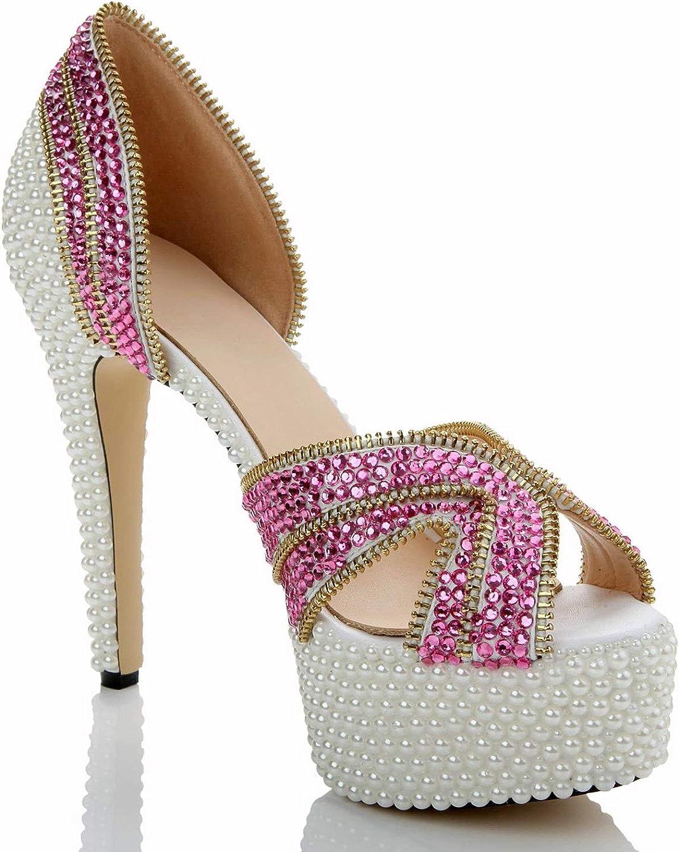 Sunshine-Family colord Diamond Pearl Sandals Pure Handmade Sexy Pattern High Wedding Nightclub Single shoes