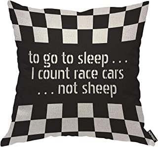 AOYEGO Black White Formula Checkered Pattern Motorsport Throw Pillow Cover To Go To Sleep I Count Race Cars Not Sheep Auto...