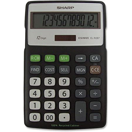 Sharp Calculators EL-R287BBK 12-Digit Recycled Plastic Cabinet Calculator - Black