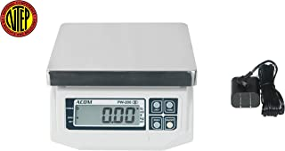 ACOM PW-200 Digital Portion Control Scale, Dual Display, Lb/Oz/Kg/g Switchable, Low Profile Design, 15lb Capacity, 0.005lb Readability, NTEP Legal for Trade
