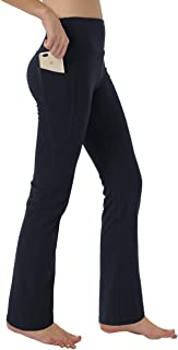 Keolorn Women's Bootleg Yoga Pants with Hidden Pockets Tummy Control Running Legging Long Bootcut