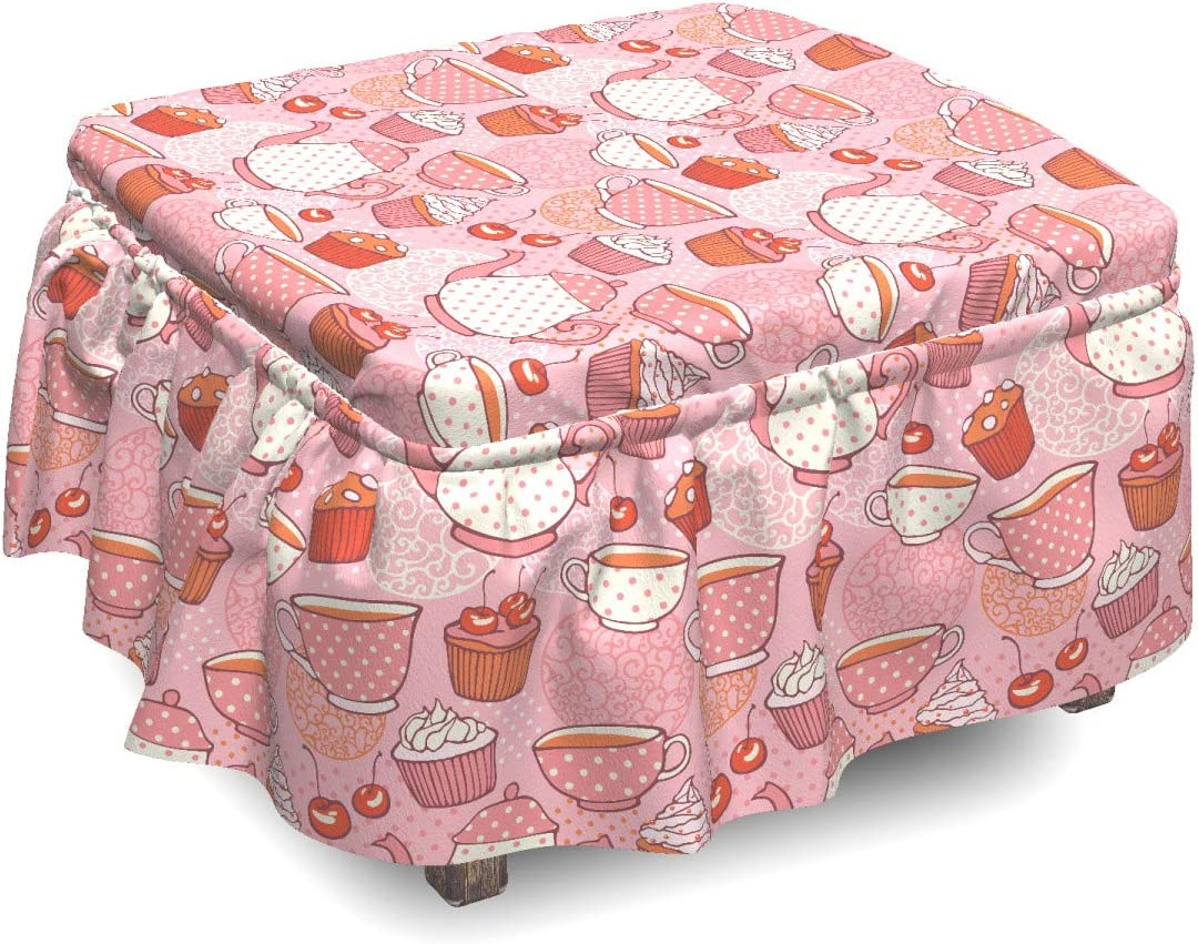 Ambesonne Max 45% OFF Tea Party Ottoman Cover New color 2 Cupcakes Cherries and Piec