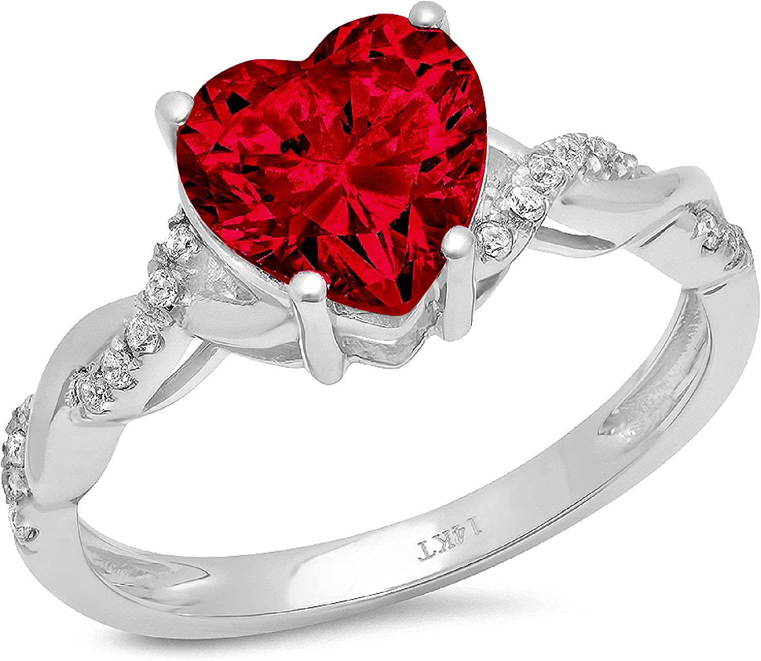 Max 76% OFF 2.13ct Heart Cut Criss Cross Milwaukee Mall Halo Natural Solitaire Twisted Crim