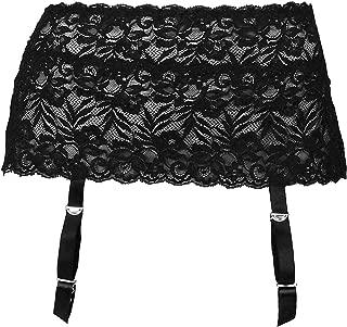 Angelique Womens Plus Size Floral Lace Nickel Free Adjustable Garterbelt Garter Belt for Stockings Lingerie