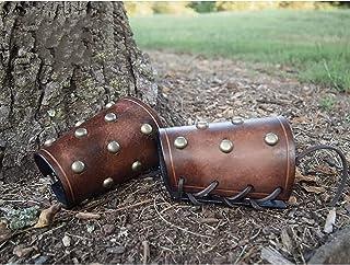 XDXDO Gantelets d'armure médiévale - Taille réglable, protège-Bras Vintage Caoutchouc Vambrace Bras de Manchette Armure Go...