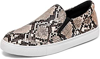 Womens Slip On Sneakers Snake Shoes Casual Comfortable Flats Memory Foam Insoles Faux Snake Skin Anti-Slip for Walk Stand Work 5.5-10