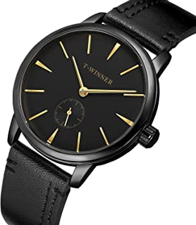 Bestn Watch Men's Manual Mechanical Watch Minimalist Analog Casual Wrist Watches with PU Leather Band