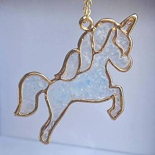 Unicornio Pegaso Azul Brillan en la oscuridad Resina Colgante 18k Chapado en Oro Cadena Collares