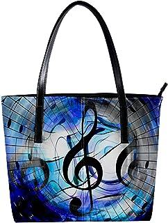 Lorvies - Borsa a tracolla da donna in pelle PU, con note musicali e chiavi, borsa a mano
