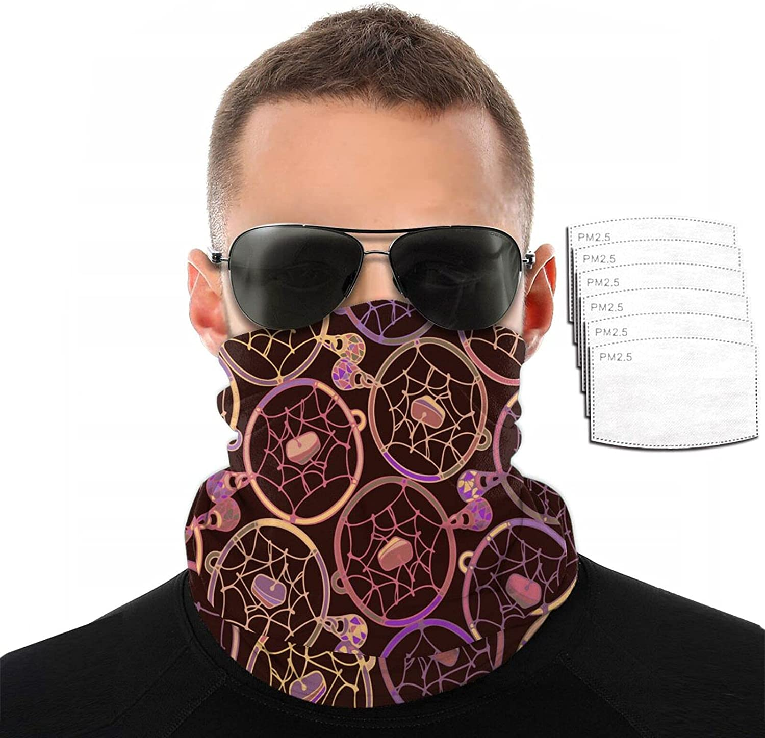 Gesdfwe Face Mask Reusable Native American Pattern Balaclava Dust Scarf with 6 Filter