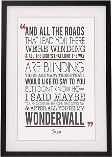 Oasis 'Wonderwall' Song Lyrics Framed Print with Mount | 12x10 Inch Wall Art Décor | Gift Idea for Him Her Boyfriend Girlfriend Couples