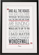 Oasis 'Wonderwall' Song Lyrics Framed Print with Mount | 12x10 Inch Wall Art Décor | Gift Idea for Him Her Boyfriend Girlfriend Couples
