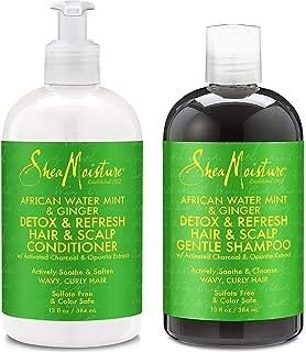 Shea Moisture, African Water Mint & Ginger – Detox Hair & Scalp Gentle Combination Set for Unisex, Shampoo 13 Fluid Ounce & Conditioner 13 Fluid Ounce