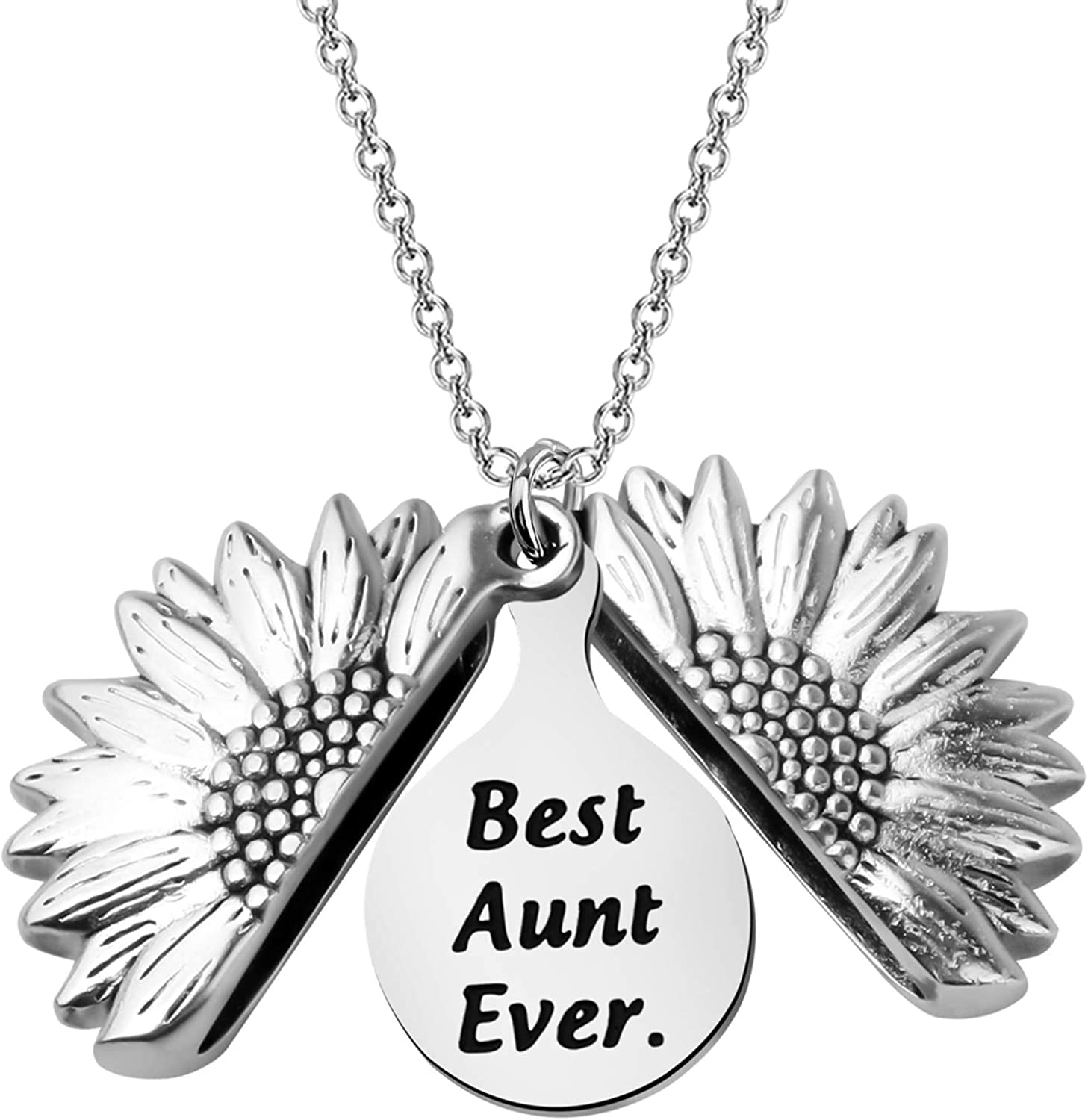 BEKECH Aunt Gift Best Ever A Sunflower Locket All items online shop free shipping Necklace