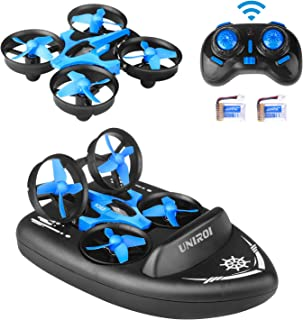 UNIROI 3 in 1 Mini RC Drone Support Remote Control Car/Boat/Quadcopter Mode with 360° Flips Stunt One Key Return Headless Mode and 2 Speed Modes for Kids Toys Gifts (USB Charging)