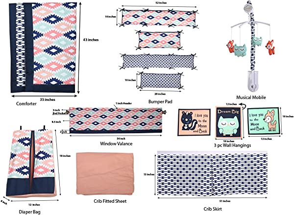 Bacati Emma Aztec 10 Piece Nursery In A Bag Cotton Percale Girls Crib Bedding Set With Bumper Pad Coral Mint Navy