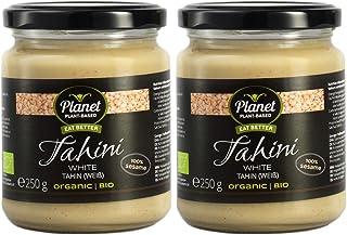 Planet Plant-Based Tahín blanco (hecho de sésamo pelado), 2 frascos (2x250g), orgánico, vegano, sin gluten. Semillas de sésamo peladas y tostadas, sin aditivos.