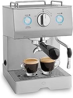 Cafetera Expreso de Acero Emilia | 1140 W, 15 Bares, 1,5 L | con filtro, Máquina para café con función de espumador para leche y támper + Gratis Espresso-Guide (PDF)