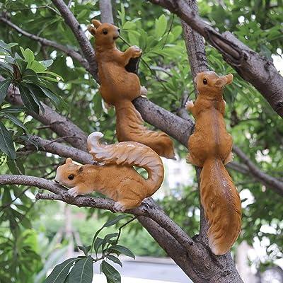 Bonsai fortuna Jardín exterior Kinder Escultura Decoración patio del jardín Decoración Creativa Simulación animal de la resina pequeña ardilla Decoración Tres ...